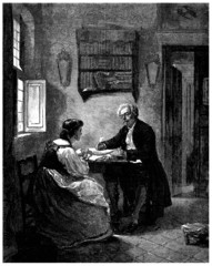 Burgess : Father & Daughter talking - 19th century
