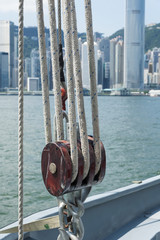 Pulley on deck with urban background
