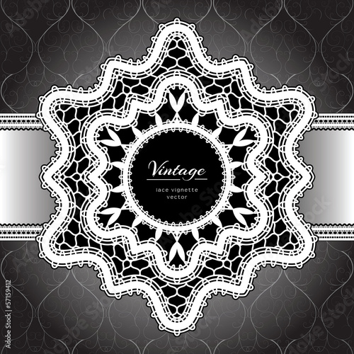White lace background, lacy frame on black