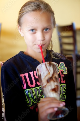 Girl Drinking Milkshake