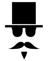 Icon gentleman with hat and mustache