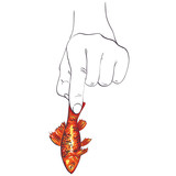Hand holding a fish - vector illustration