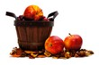 Harvest basket with apples on a white background