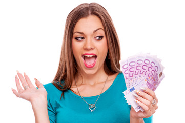 Surprised young woman with Euro bills