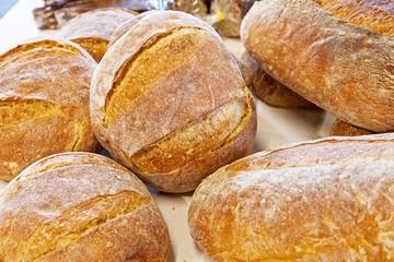 Fresh baked round breads.
