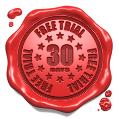 Free Trial 30 Days- Stamp on Red Wax Seal.