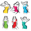 beautiful women set of vector symbols in dress