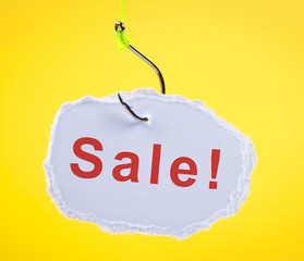 Sale! Scrap of paper on fishing hook.