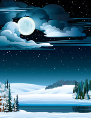 Winter landscape with lake and full moon.