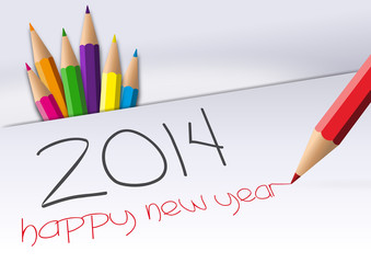 Happy New Year 2014 crayons
