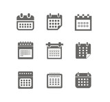 Different styles of calendar web icons collection isolated on wh