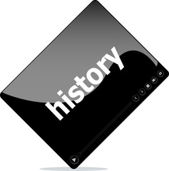 Social media concept: media player interface with history word