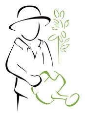 Gardener taking watering can in the hand