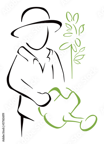 Gardener taking watering can in the hand