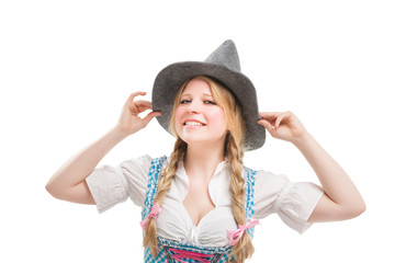 Young Bavarian woman in dirndl.