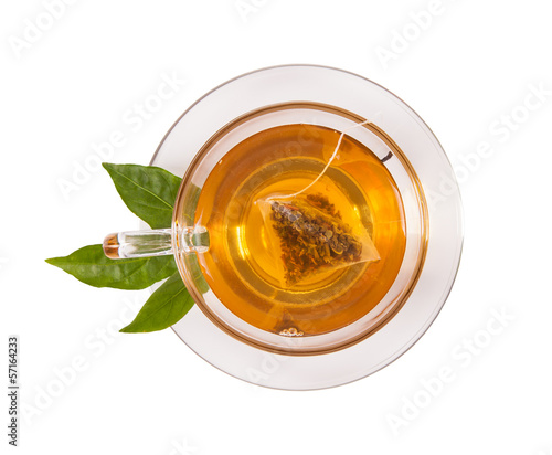 Plexiglas Thee Cup of tea isolated on white background