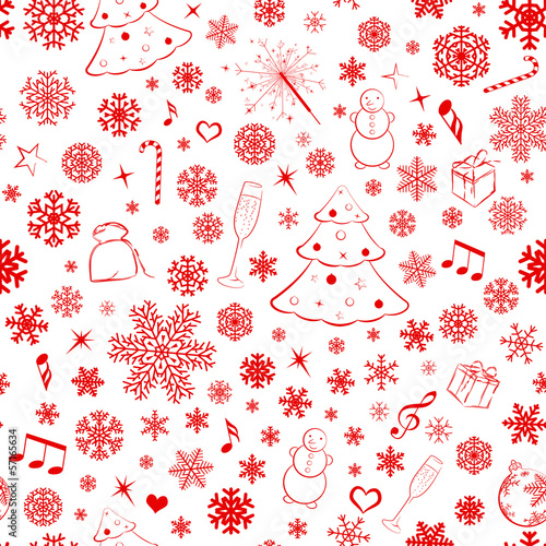 Seamless pattern with red snowflakes and xmas symbols