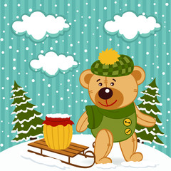 teddy bear winter - vector illustration