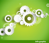 Set of cogwheels on green background and place for your text.