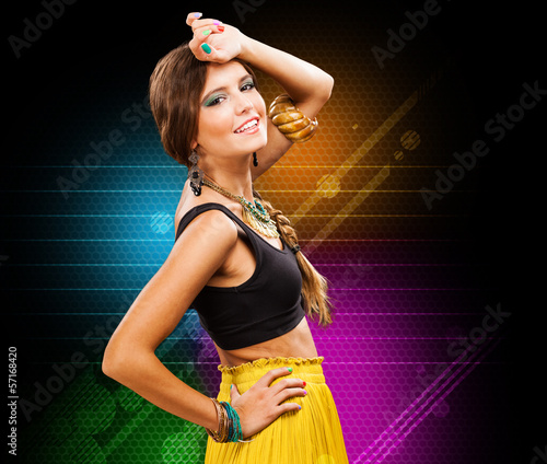 Colorful fashion woman portrait