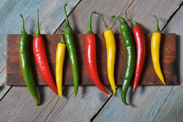 Multi colored hot chili peppers