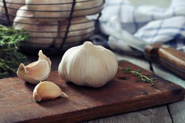 Fresh garlic on cutting board