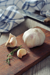 Fresh garlic on cutting board