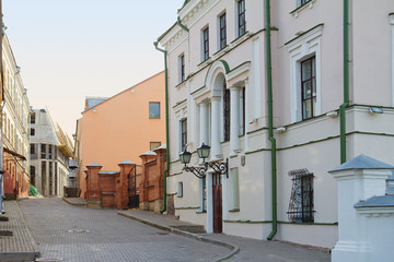 Old small street in Minsk, Belarus