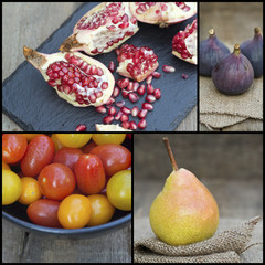 Compilation collage of fresh fruit with Autumnal theme