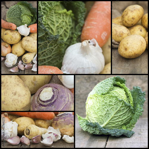 Compilation collage of fresh food with a theme of Winter vegetab