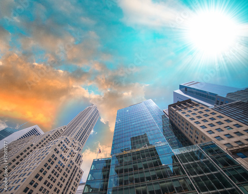 Hi-Rise Skyscrapers with sunset sky