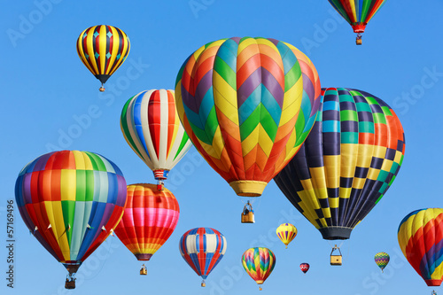 Deurstickers Ballon colorful hot air balloons against blue sky