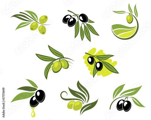 Green and black olives set - 57170649