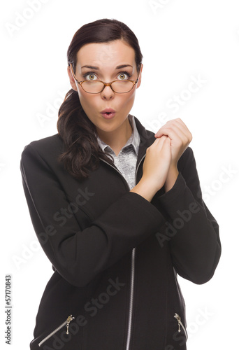 Funny Faced Mixed Race Businesswoman Holding Her Hands to Side