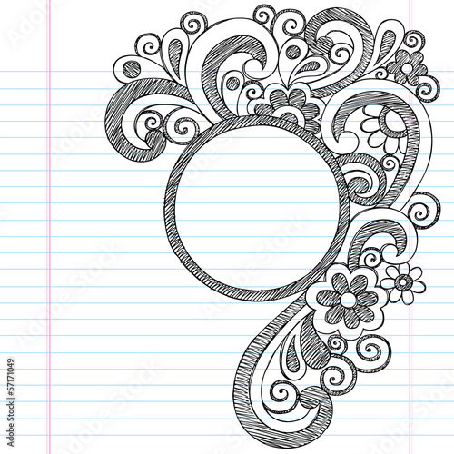 Circle Doodle Frame Border Sketchy Back to School Doodles
