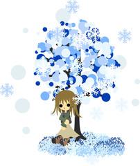 雪が降る冬のある日、木の下で佇むセミロングの女の子。
