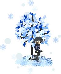 雪が降る冬のある日、木の下で佇むコートを着た男性。