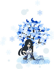 雪が降る冬のある日、木の下で佇む長い髪の女性。