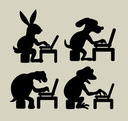 Animal with laptop silhouettes