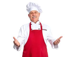 Chef inviting at restaurant.