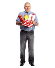 Senior man with gift