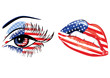 Flags of the USA in sensuality lips and beautiful female eye