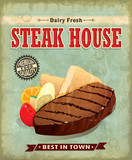 Vintage Steak house menu poster design