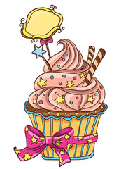 Cupcake with stars and bow