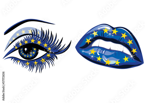European Union Flag in beautiful female eye and lips