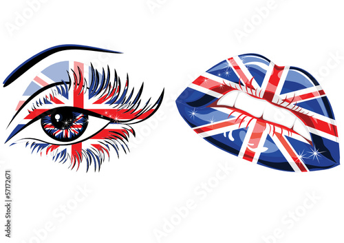 Flags of Great Britain in beautiful female eye and lips