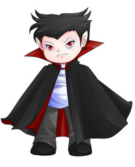 Cute cartoon illustration of Dracula