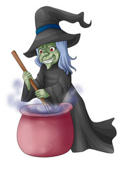 Illustration of a witch stirring concoction in the cauldron