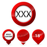 Red XXX glow button set
