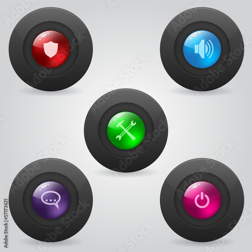 Matte web buttons with shiny inner spheres